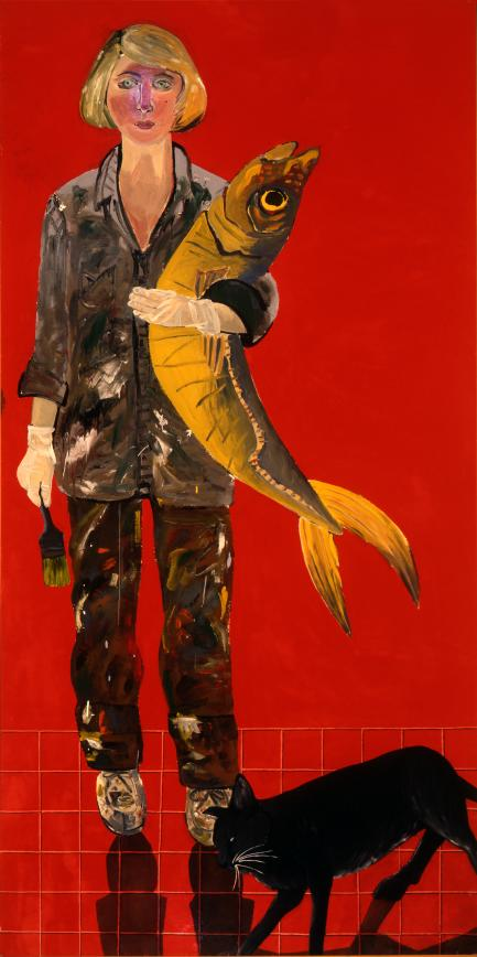 Self-Portrait with Fish and Cat by Joan Brown