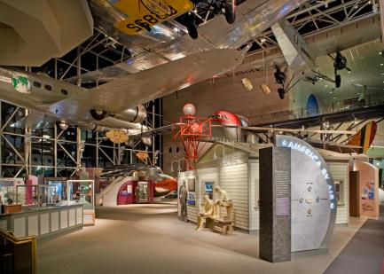 Exhibit hall at the Air and Space Museum