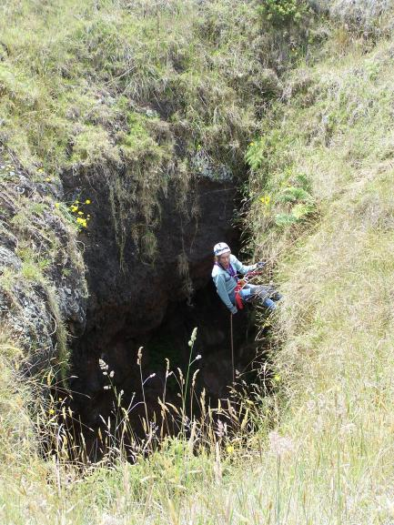 Lava Tube Cave with explorer