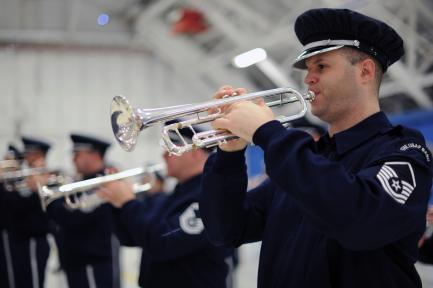 Air force band, cornet player in foreground