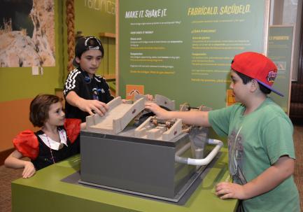 Children at interactive station