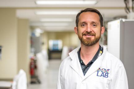 Steven Canty in lab coat