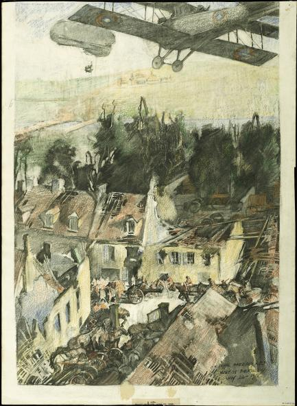 Sketch of plane over village