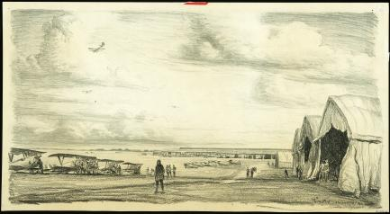 Sketch of hangar and open field