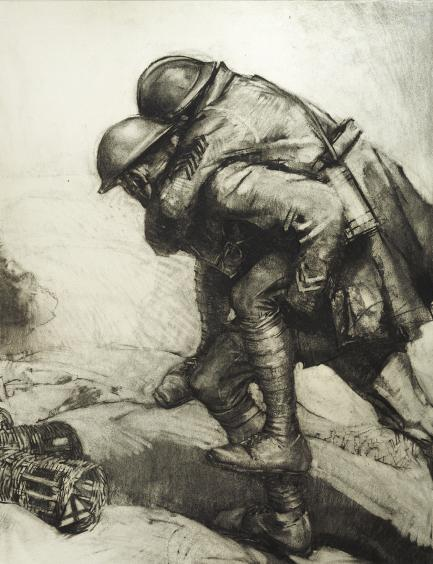 Charcoal drawing of one soldier carrying another