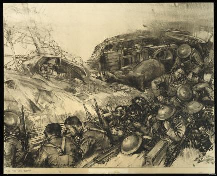 sketch of soldiers scrambling in trench