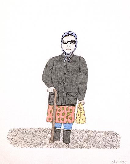Pencil drawing of woman