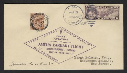 Amelia Earhart Solo Transatlantic Flight Cover