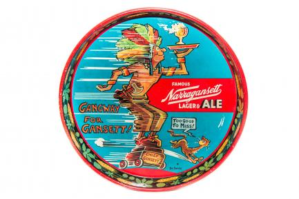 Cartoon style ad with Indian chief holding serving tray with beer