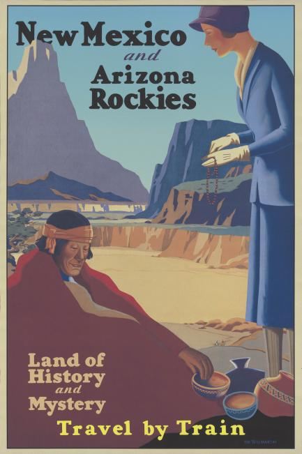 Travel poster showing woman buying goods from Native man wrapped in blanket