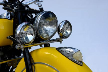close up of motorcycle headlight