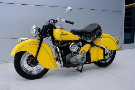 Side view of yellow otorcycle