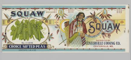 Advertising label featuring Native American woman