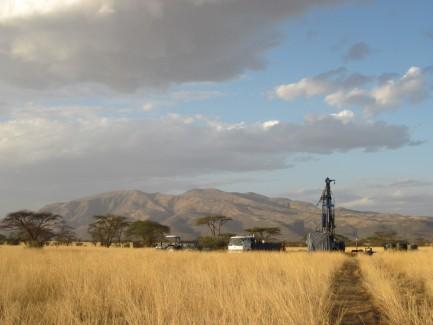 Drill sight across grassy plain