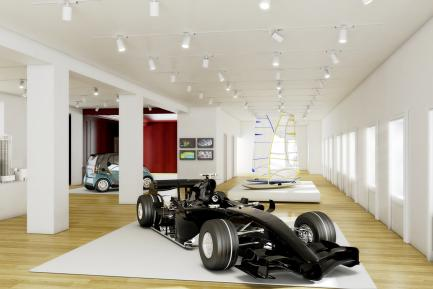 Race car and and windsurfer in design gallery