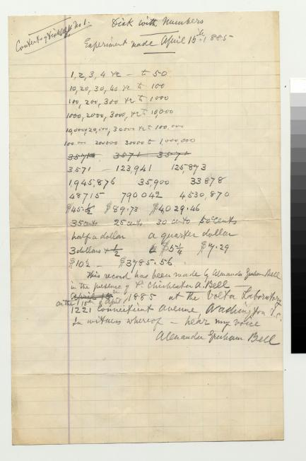 Transcript of Voice Recording by Alexander Graham Bell -