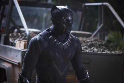 Digital film still of Chadwick Boseman in the Black Panther film