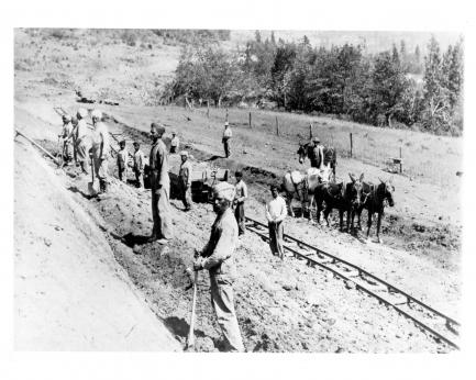 Indian immigrants work on railway construction, ca. 1906