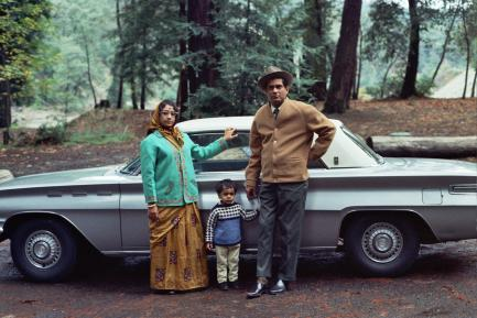 Ghoush family with car, ca. 1970