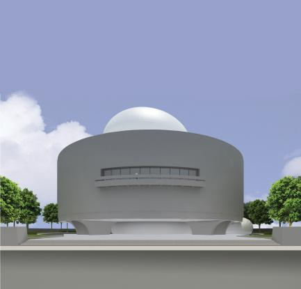 CAD rendering of Hirshhorn Museum with Bubble atop