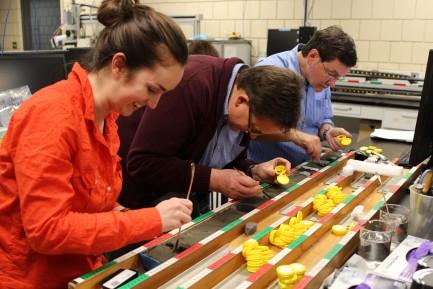 Researchers examine core sample