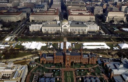 A north-facing, aerial view of the central Smithsonian Institution campus on the
