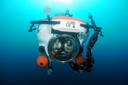 Carole Baldwin in a submarine