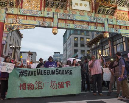protesters in Chinatown