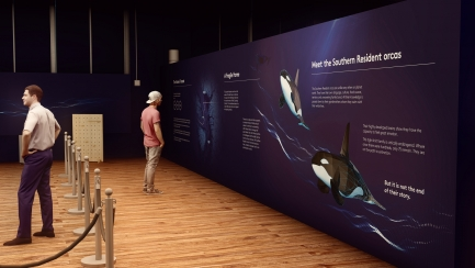 Rendering of museum exhibit with visitors