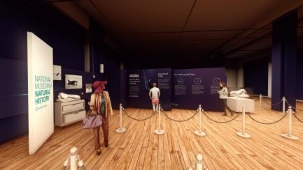Rendering of people in a museum exhibit