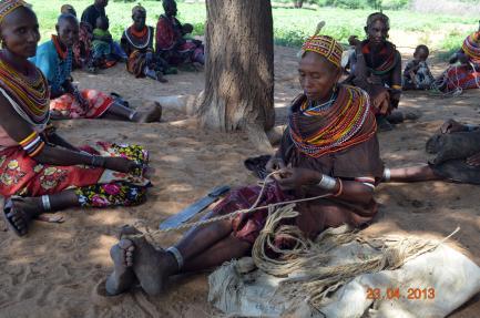 Rendille woman weaving