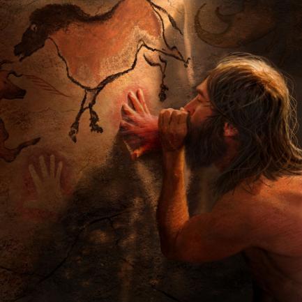 Artist's rendering of paleolithic artist