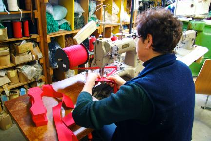 Worker making shoes