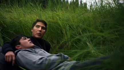Movie still of two young men