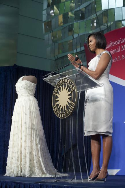 Michelle Obama with inaugural gown