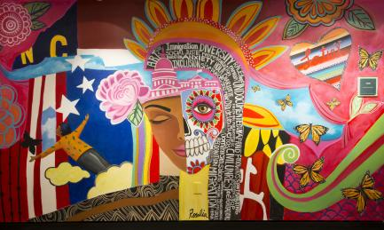 Colorful mural with diversity theme
