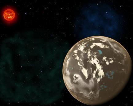 Artist's rendering of planet orbiting red sun