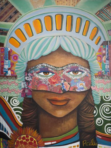 Colorful portrait of girl wearing mask