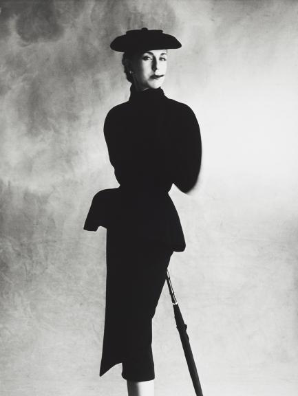 Irving Penn - Dior Black Suit (Tania), Paris   1950   gelatin silver print   Cop