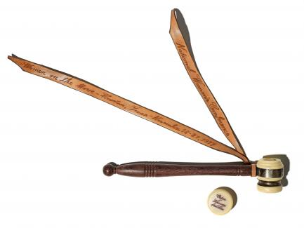 Gavel with leather ribbon