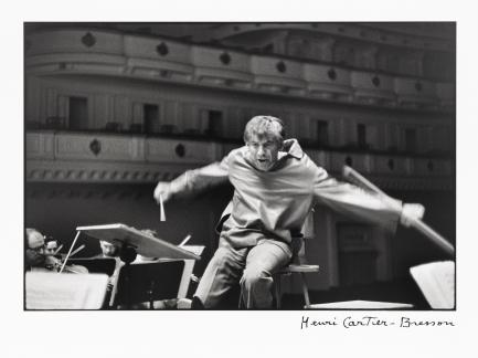 Photo of Bernstein conducting