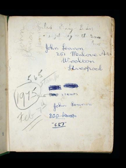 John Lennon's signature in stamp album