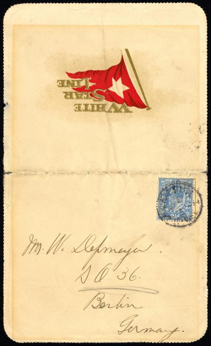 Letter mailed aboard RMS Titanic