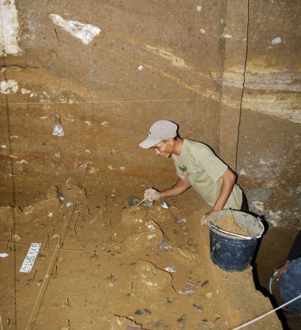 worker at excavation site