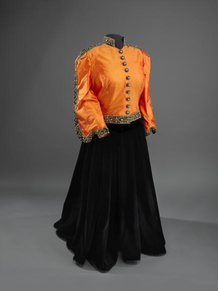orange and black ensemble