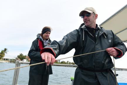 Researchers aboard boat