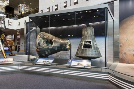 Spacecraft on display in Milestones Hall