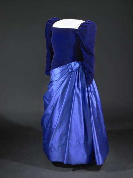 royal-blue gown.