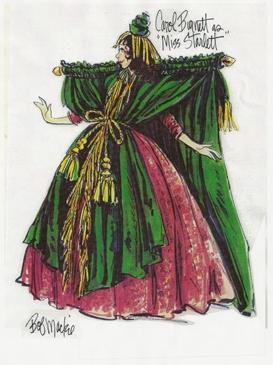 drawing of dress with curtain rod shoulder pads