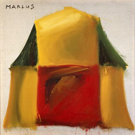 Abstract yellow, red and green painting